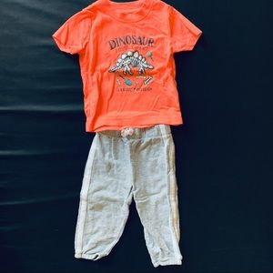 Boy outfit dinosaur fossil t shirt & pants 12 mos